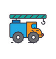 crane truck construction vehicle flat line vector image vector image