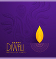 creative diya design on purple background vector image vector image