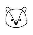 cute squirrel head cartoon icon thick line vector image vector image