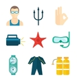 Diving icons flat vector image vector image