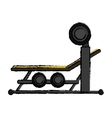 drawing brench press with weight barbell sport vector image vector image