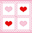 embroidery background with hearts pixel-art style vector image vector image