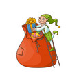 flat elf boy folding present boxes in bag vector image