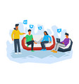 friends making discussion together vector image vector image