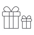 gift boxes thin line icon package and surprise vector image vector image