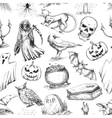 Halloween sketch seamless pattern vector image vector image