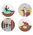 hipster in different life situations vector image