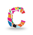 initials letter c full of colors with a vector image