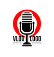 interesting logo with retro microphone and red vector image vector image