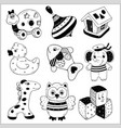 kids toys cartoon - icons collection vector image vector image