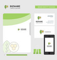 leaf business logo file cover visiting card and vector image vector image