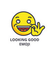looking good emoji line icon sign vector image