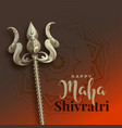 maha shivratri background with trishul weapon vector image vector image