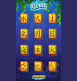 mahjong item set fire water earth air moon vector image vector image