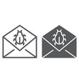 mail virus attack line and glyph icon message vector image vector image