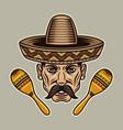 mexican man head with mustache in sombrero hat vector image