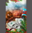 Money with sparkles and fir branches vector image