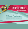 official turquoise certificate with red triangles vector image vector image
