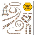 old railroad curves perspectives turns vector image vector image