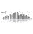 outline chicago illinois city skyline with modern vector image vector image