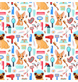 pattern with grooming tools and dogs vector image