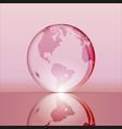 Pink shining transparent earth globe