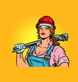 pop art woman plumber mechanic with wrench vector image