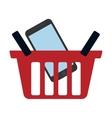 red basket buy online smartphone commerce vector image