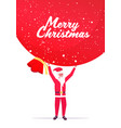santa claus holding big sack merry christmas happy vector image