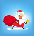 santa claus walks with big red bag of gifts and vector image vector image