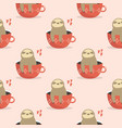 seamless pattern with cute sloths sitting in cups vector image vector image