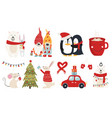 set christmas characters hugs vector image