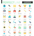 set flat flower and gardening icons vector image vector image