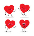 set hearts characters in different situations vector image