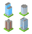 set isometric block houses vector image