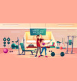 sportive people in fitness gym interior vector image
