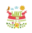 Spring is comingLettering flowersbirdsun vector image