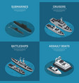 square military boats isometric icon set vector image vector image