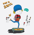 the boy was very happy to go to school vector image