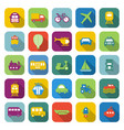 transportation color icons with long shadow vector image vector image