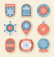 winter labels and badges elements set vector image