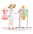 woman chooses what to wear vector image vector image