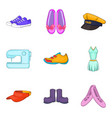 woman new clothes icon set cartoon style vector image vector image