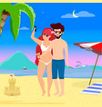 young loving couple on leisure at tropical island vector image vector image