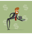 Happy businessman or manager holds a briefcase of vector image