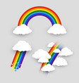 colorful rainbow with clouds set isolated rainbow vector image
