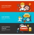 Auto Mechanical Service Horizontal Banners Set vector image
