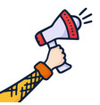 a hand is holding a megaphone telling important vector image