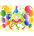 A happy monster in the middle of the balloons vector image vector image