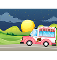 A pink icecream bus vector image vector image